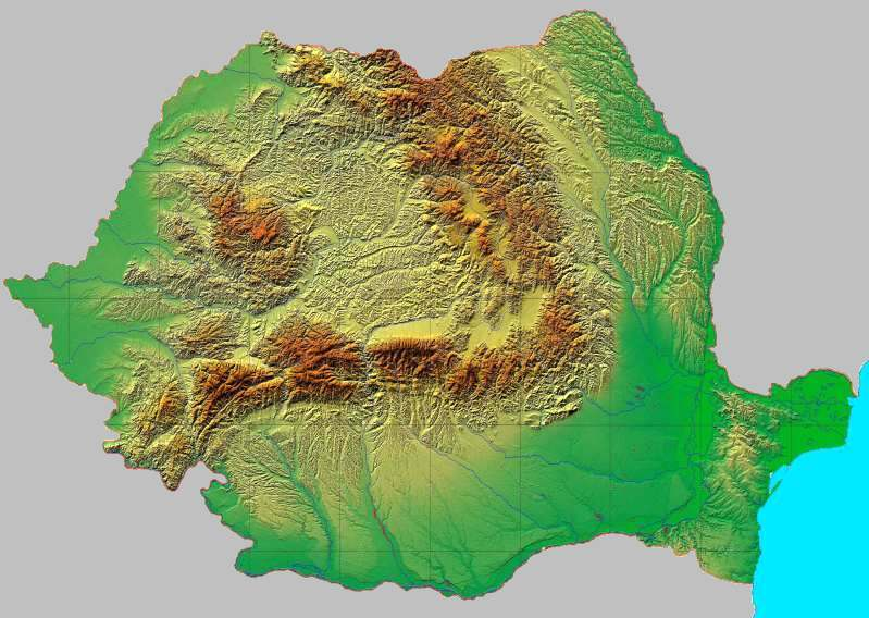 Harta Geografica A Romaniei Unitati De Relief